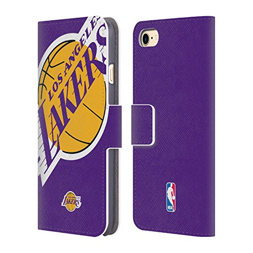 Official NBA Oversized Icon Los Angeles Lakers Leather Book Wallet Case Cover For Apple iPhone 7 / (Icon Leather Wallet)