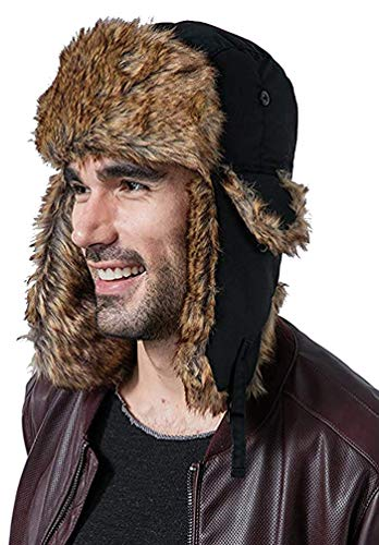 bf7f7011 Trapper Hat with Faux Fur & Ear Flaps - Ushanka Aviator Russian Hat for  Serious Expeditions