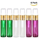 Olilia Glass Spray Bottles with Gold Fine Mist Sprayer 6 Pack of 10ml (1/3oz) Refillable Empty Bottles (Mixed Color)