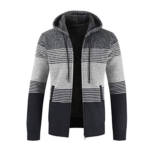 Yutao Men's Casual Knitted Cardigan Zip-up Sweaters Slim Fit Wide Stripes Hoodie Zipper with Pockets Deep Gray