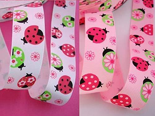 Ribbon Art Craft Decoration 10 Yards Ladybug+Flower Grosgrain 7/8