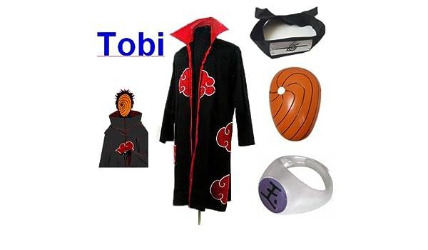 Sunkee Naruto Cosplay Akatsuki Ninja Tobi Traje - Capa (L ...