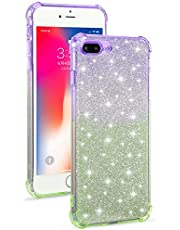 Miagon Soft Glitter Case for iPhone SE 2020,Slim Shockproof 2 in 1 Flexible Silicone Bumper Protective Phone Sparkly Case Cover Girls Women,Purple Green