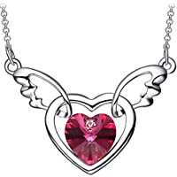 NEEMODA Angel Wings Heart Necklace with Austrian Crystal 18 inches + 2 inches Chain Jewelry Gift Box