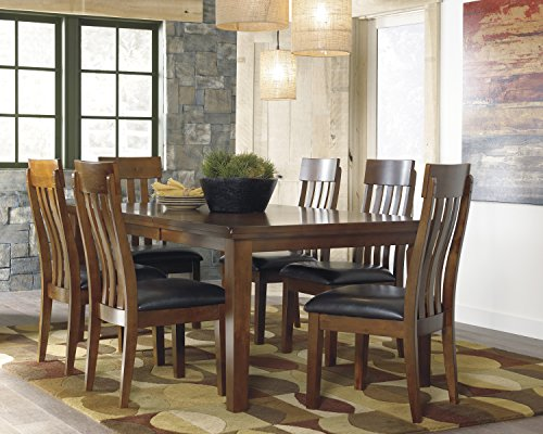 Ralerrine Medium Brown Formal Dining Set, Butterfly leaf Table and 6 Upholstered Side Chair, Server
