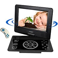 COOCHEER Portable DVD Player,10.1-Inch Crystal Panel Touch Buttons Travel HD Backseat CD DVD Player with Rechargeable Battery,Swivel Screen and Game Controller,Support USB/SD Card-Black