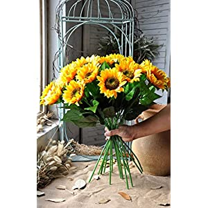 Charmly Artificial Sunflowers 5 Pcs Long Stem Fake Sunflowers Artificial Silk Flowers for Home Hotel Office Wedding Party Garden Decor 23.5'' High 2