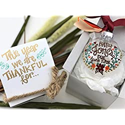 Hand Painted Thanksgiving Baby Pregnancy Announcement Ornament with Gift Box - This Year we are thankful for. Baby Due 2018 - Fall Floral Colors