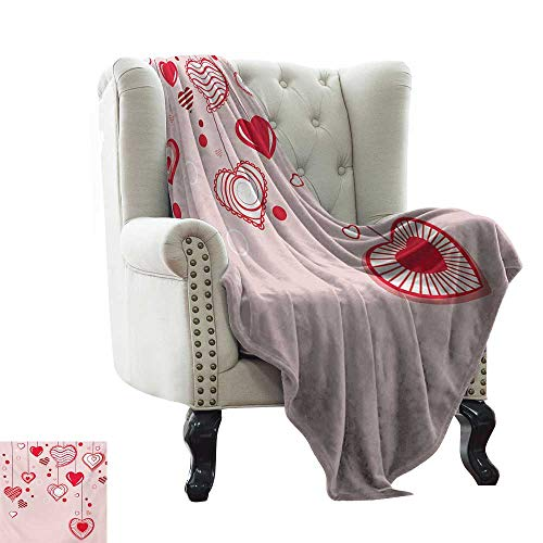 Anyangeight Love,Weave Pattern Extra Long Blanket,Contour Hearts Hanging on Strings Romantic Anniversary Valentine`s Day Happy Print 60