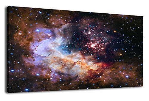 (arteWOODS Canvas Wall Art Cosmic Outer Space Painting Pictures Panoramic Canvas Arotwork Universe Galaxy Nebula Stars Wall Art for Home Office Decoration Framed Ready to Hang 24
