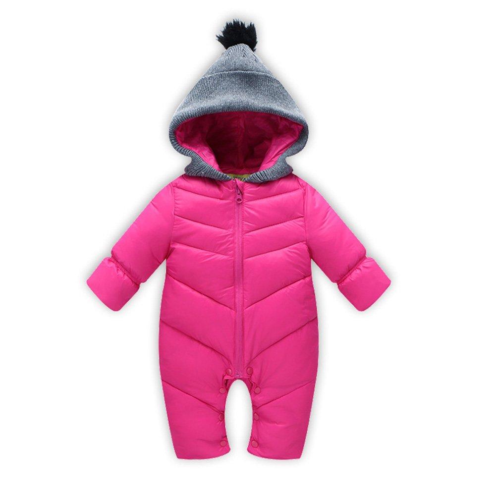 Deylaying Inverno Neonato infantile Bambino Ragazze Ragazzo Cappotti Piumino cappuccio Tenere caldo Cappotto pagliaccetto Per 0-18 mesi ChildWarm1dly