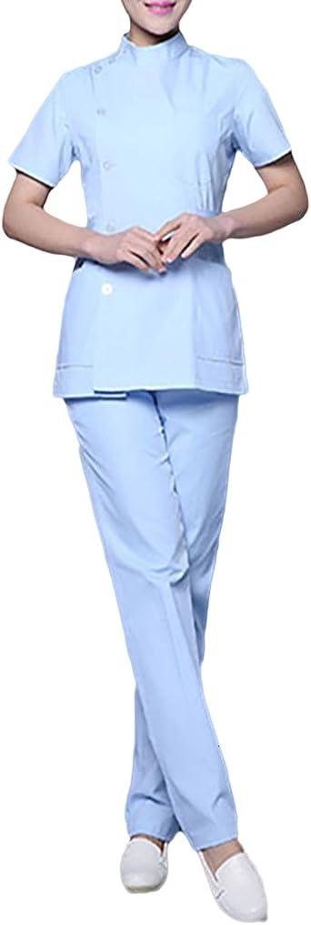 THEE Uniforme Médico Ropa Enfermera de Manga Corta Bata Médico Laboratorio Enfermera Sanitaria