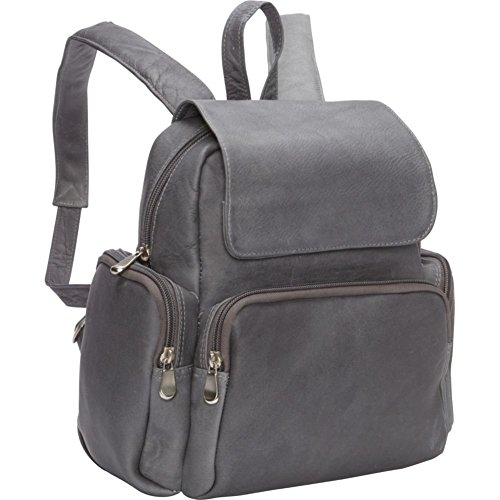 le-donne-leather-womens-multi-pocket-back-pack-purse-gray-medium
