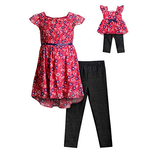 Dollie & Me Girls' Floral Top & Legging Matching 18 Inch Doll Outfit Set, Pink, 6 ()