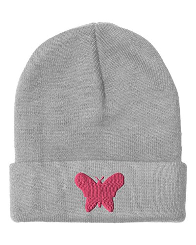 Butterfly Embroidery Embroidered Beanie Skully Hat Cap Light Gray (Beanie Butterfly Embroidered)