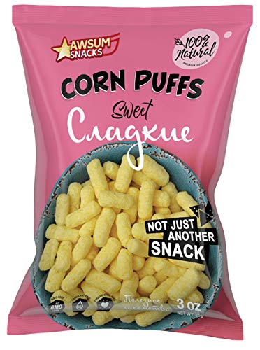 Awsum Snacks Sweet Corn Puffs 3 oz bag (Pack of 6 bags 18 Ounce) Vegan, Gluten-Free, Crunchy Snacks