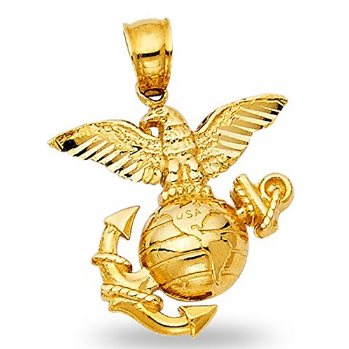 USA Logo Pendant Solid 14k Yellow Gold Marines Emblem Charm Eagle Anchor USA Polished 19 x 20 mm