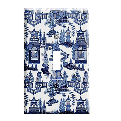 - Asian Blue Willow Pattern Switch Plate - Switchplate Cover - 1 toggle