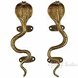 EYES OF INDIA - 9'' Pair Brass Snake Cobra Cabinet Pulls Door Handles Antique Bronze Indian Bohemian Boho