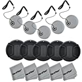 Lens Cap Bundle - included: 52mm Snap on Front Lens Cap for NIKON D7100 D7000 D5300 D5200 D5100 D5000 D3300 D3200 D3100 D3000 D90 D80 DSLR Cameras + Universal Lens Cap Keeper w/ HeroFiber Ultra Gentle Cleaning Cloth (5 pack)