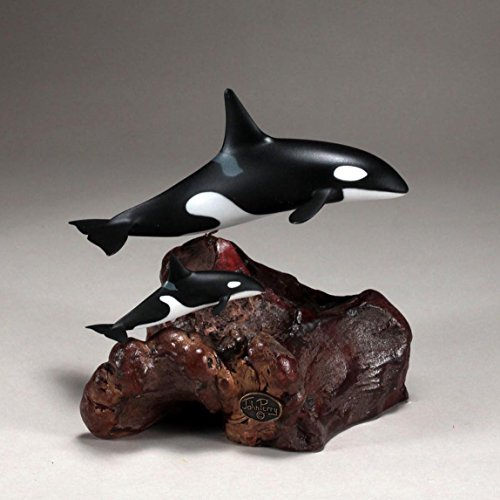 Orca Killer Whale & Calf Sculpture by John Perry 9in Medium up-tail - Polished Tail Whale