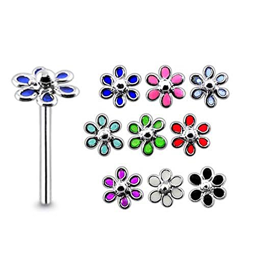5 Pieces Mix Color Painted Filigree Flower Sterling Silver 22 Gauge Straight Nose - Flower Nose Hand Painted