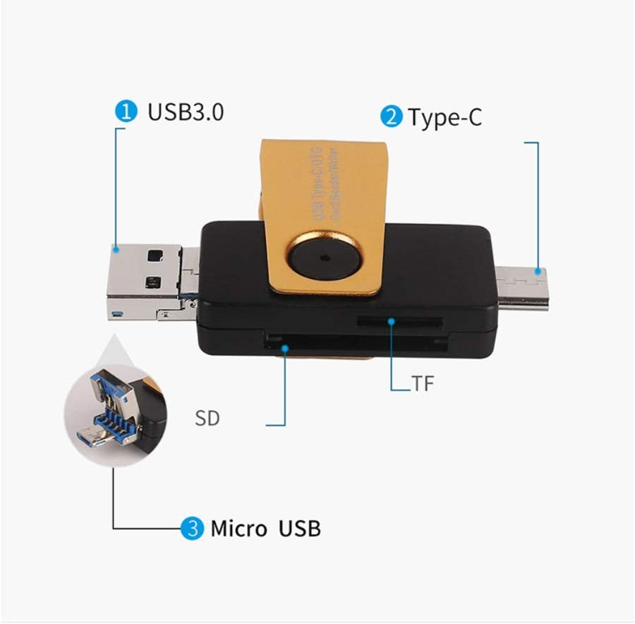 Alician Card Reader USB 3.0 for Type-C Micor USB OTG Card Reader for SD TF SDHC