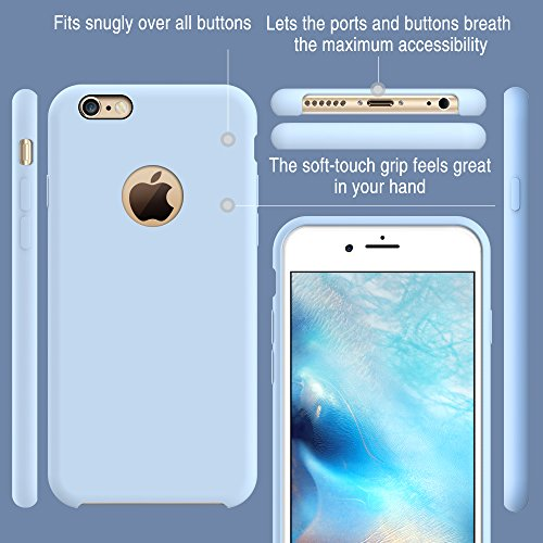 TORRAS [Love Series] iPhone 6S Case/iPhone 6 Case, Liquid Silicone Rubber Shockproof Case Soft Microfiber Cloth Cushion Compatible iPhone 6 / 6S, Light Blue by TORRAS (Image #5)