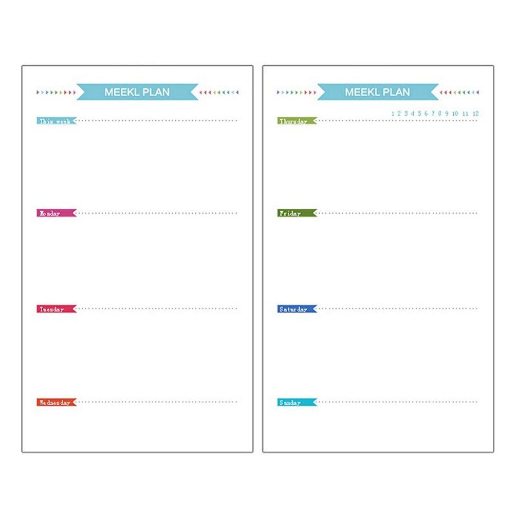 TOYMYTOY Ricariche di carta fogli settimanale Pagine di carta di scrapbook notebook diario album di foto fogli A6 (40 Pezzi)