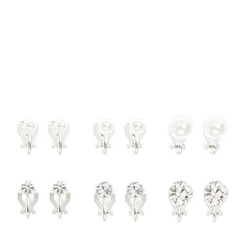 93b9236ae Claire's Girl's Silver Pearl and Crystal Graduated Clip On Stud Earrings ...