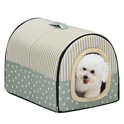 ACTNOW 2-in-1 Pet House and Portable Sofa Non-Slip Dog Cat Igloo Beds Warm Lovely Pet House Gift for Pet 3-Size (L, Green Stripes) (Dogs In The House)