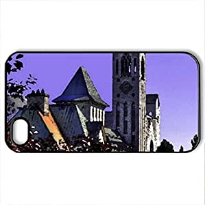 Moon in purple sky - Case Cover for iPhone 4 and 4s (Religious Series, Watercolor style, Black)