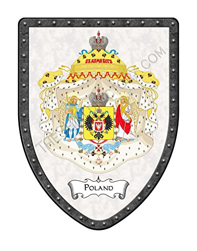 Poland Coat of Arms Country Display Shield, Polish - Polish Royal Arms Alabaster White - Hand Made in the USA Polish Family Coat Arms