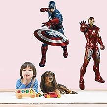 Fange DIY Removable 3D Captain America Iron Man Avengers Art Mural Vinyl Waterproof Wall Stickers Kids Room Decor Nursery Decal Sticker 27.5''x19.6''