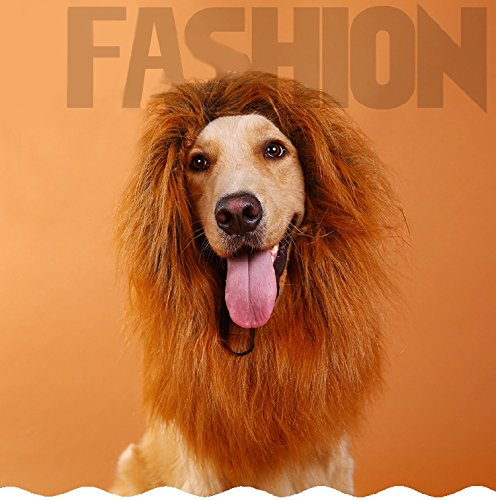 Price comparison product image Dog Lion Mane Costume - Large Dog Halloween Costume, Light Brown Lion Wig