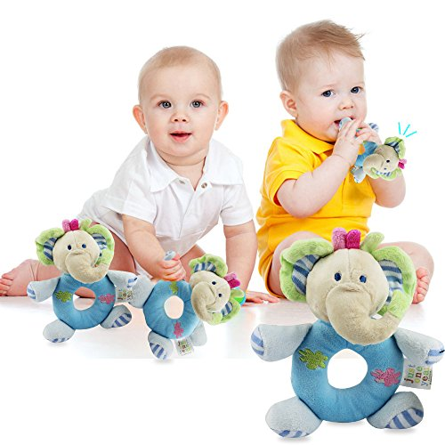 c8ed7e4dae7a Baby's First Wrist Rattle Learning Stuffed Animal Hand Bell Plush Doll Toys  for Kids Xmas Gift (Blue elephant)