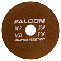 "Falcon A60PBC Resinoid Bonded Shatter Resistant Tool Room Reinforced Abrasive Cut-off Wheel, Type 1, Aluminum Oxide, 1-1/4"" Hub, 7"" Diameter x 0.062"" Thickness, 60 Grit (Pack of 5)"