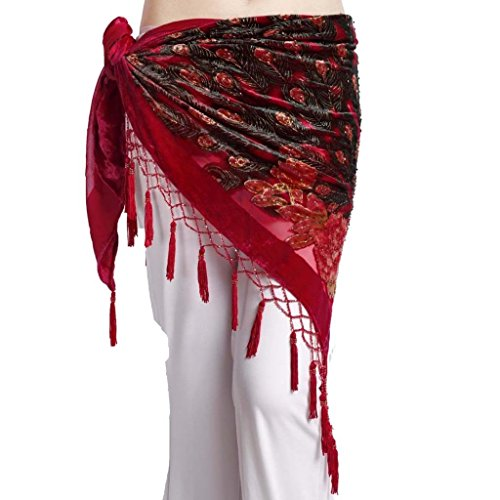 ZLTdream Women's Belly Dance Trangular Hip Scarf Grade Velvet Red