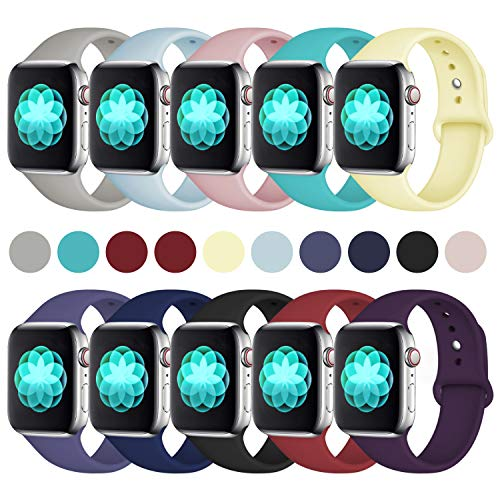 ilopee [10 Pack Bands for Apple Watch 38mm 40mm Series 4 3 2 1, Multi Colors, S/M