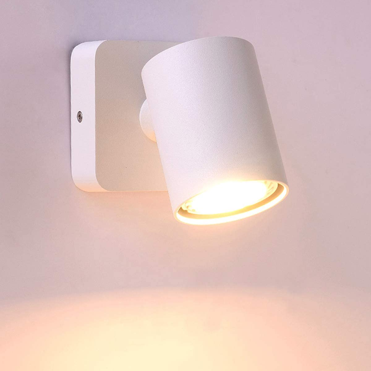 Luzden Bedside Reading Wall Lamp Fixture Mounted LED Indoor Ceiling Spotlight Adjustable Wall Sconce Rotatable White GU10