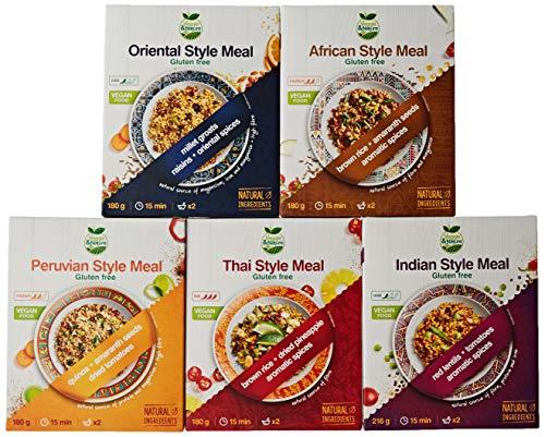 Veggie&Nature Tastes of the World - Combo de 5 packs: Indio (216 g), Africano (180 g), Oriental (180 g), Peruano (180 g) y Tailandés (180 g)