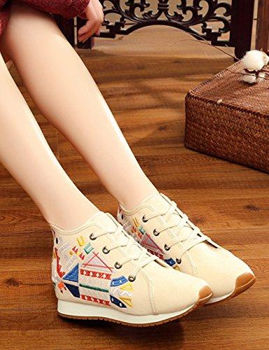 Mode Casual Womens Appartements Chaussures Fanwer Voyager Tissu Géométrique Brodé Marcher Augmenté Chaussures Toile Espadrilles PdqxB8H