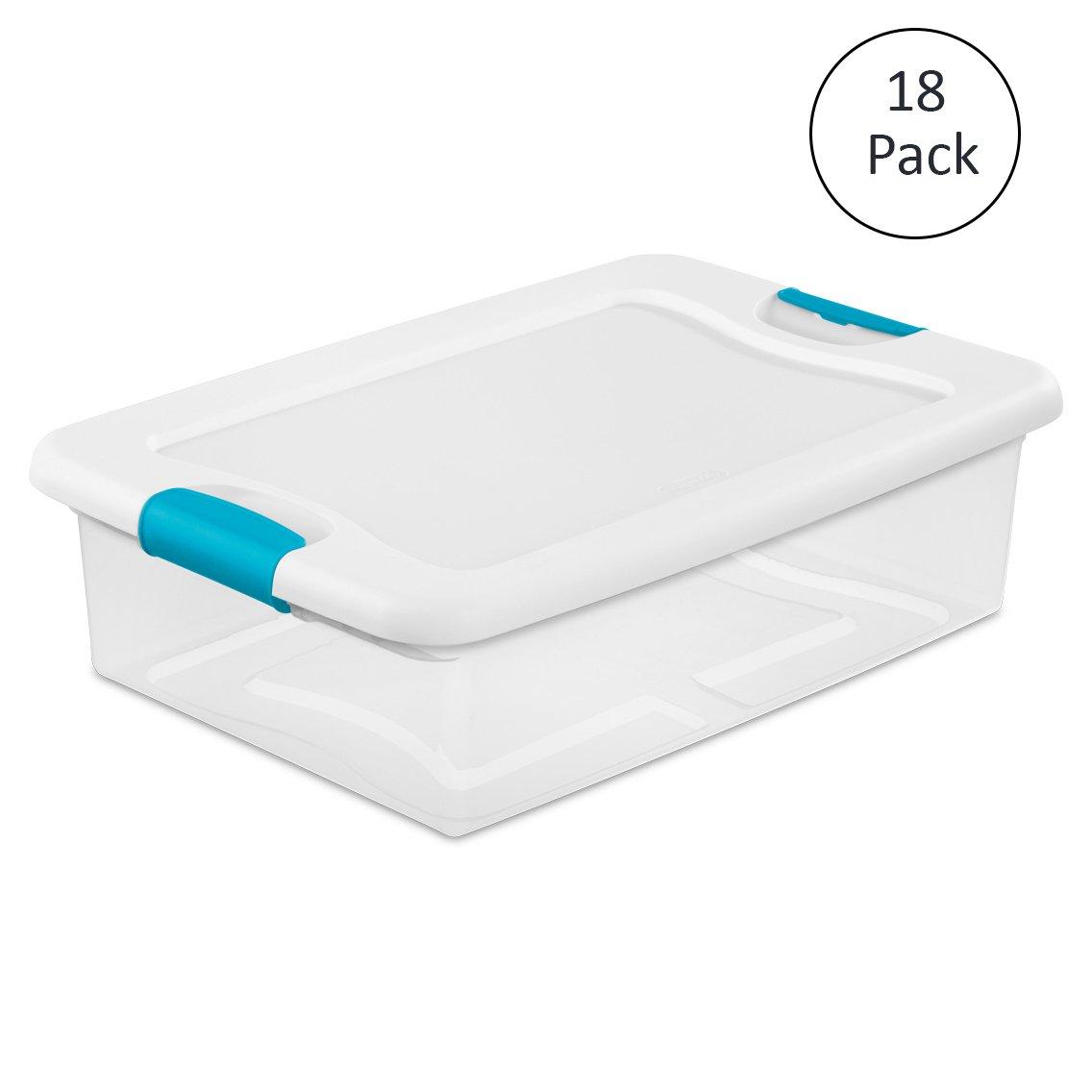 Sterilite 1496 32-Quart Clear Latching Stacking Storage Box, 18 Pack