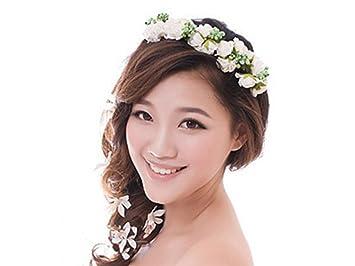 Amazon Com Makiyo Flower Garland Floral Bridal Headband Hairband