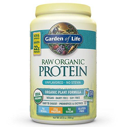 Garden of Life Organic Vegan Protein Powder with Vitamins and Probiotics - Raw Organic Plant Based Protein Shake, Sugar Free, Unflavored, 20.0oz (1 lb 4 oz / 568g) Powder