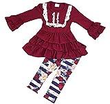 Little Girl Kids Long Sleeve Ruffles Sleeve & Top Stripe Legging Pants Set Burgundy 2T XS 600303
