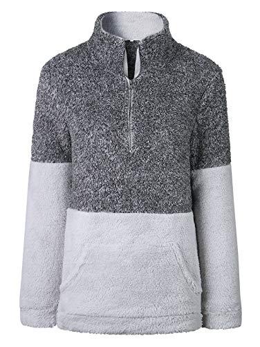TEMOFON Women's Long Sleeve Zipper Fleece Jacket Sherpa Pullover Winter Outwear Sweatshirt Coatwith Pockets Grey L