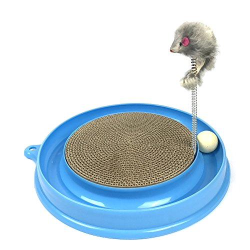 (Irispets Scratcher Kitten, Cat and Cardboard Scratcher Cat Track Toy Catch The Mouse and Track Exercise Ball Toy, Fun Interactive Cat Track Toys for Multiple Cats, kitten to Play with bag Catnip)