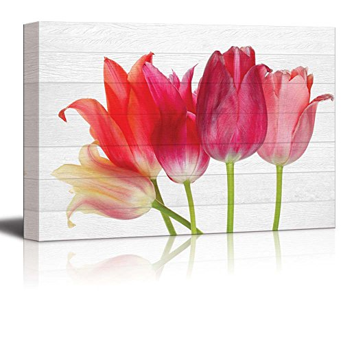 Wall26 - Bouquet of Pink and Coral Tulip Flowers Over White Wooden Panels - Canvas Art Home Decor - 16x24 inches