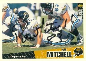 Pete Mitchell Autographed Football Card (Jacksonville Jaguars) 1996 Upper Deck Rookie No.151